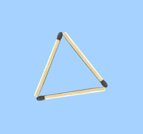 How to make 4 triangles with 6 sticks matchstick puzzle - 1 triangle by 3 sticks