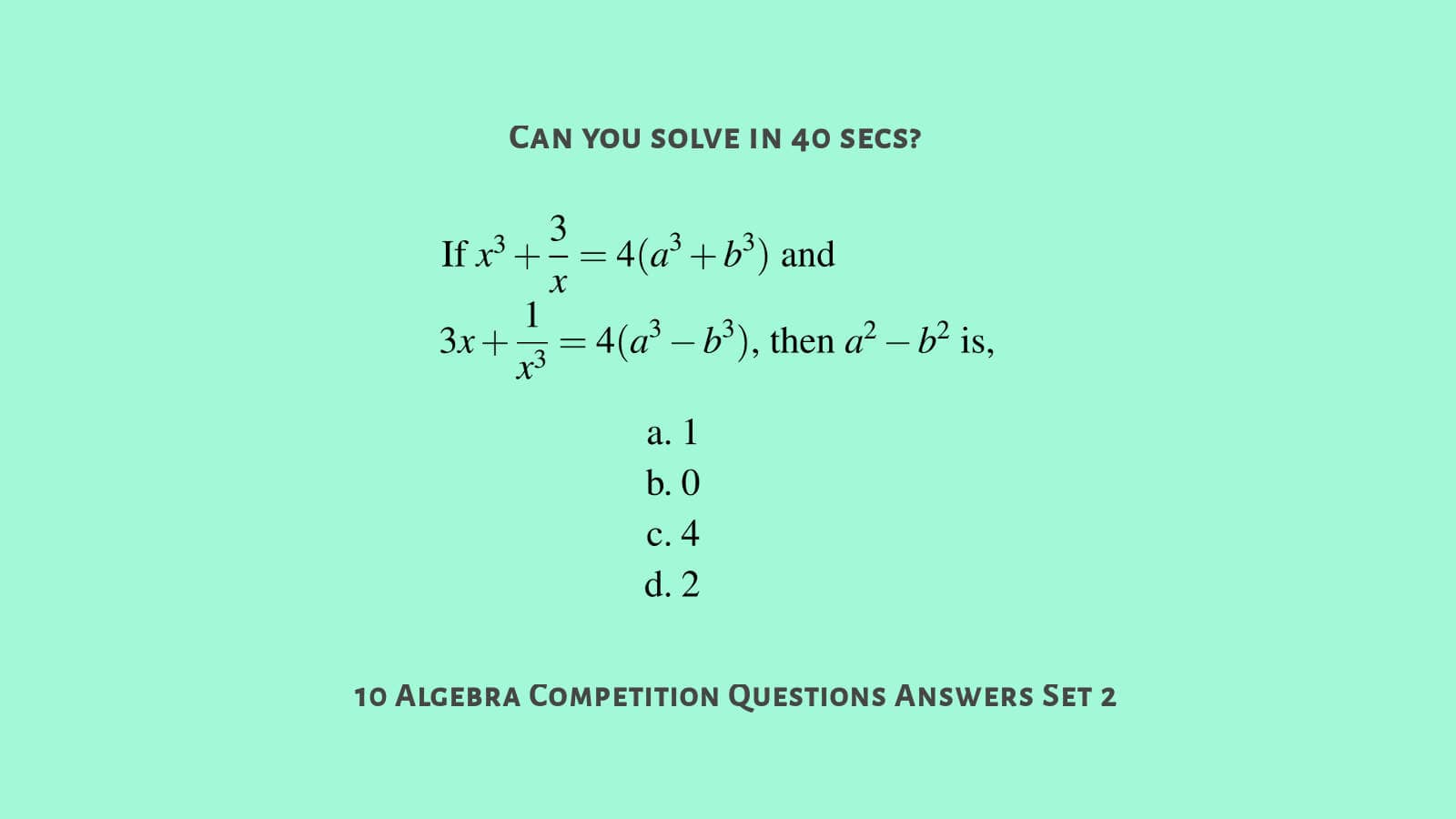 MCQ algebra questions with answers for SSC CGL Set 2