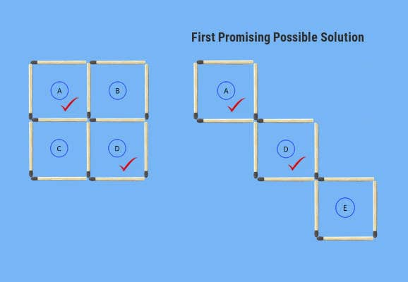 1st comparison problem figure possible solution 3 squares in 3 moves puzzle