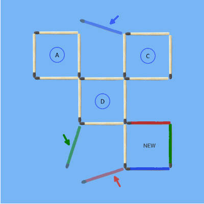 3 sticks move 5squares to 4squares 3rd puzzle solved