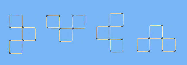 4 squares to 3 squares in 3 stick moves matchstick puzzle all solutions