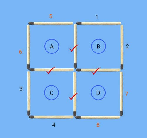 4 squares to 3 squares in 3 stick moves matchstick puzzle common sticks