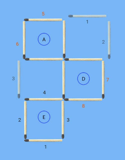 4 squares to 3 squares in 3 stick moves matchstick puzzle solution