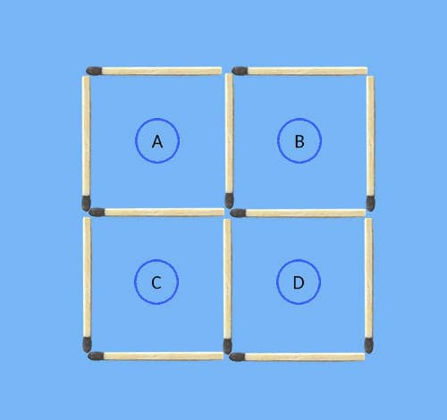 4 squares to 3 squares in 3 stick moves matchstick puzzle