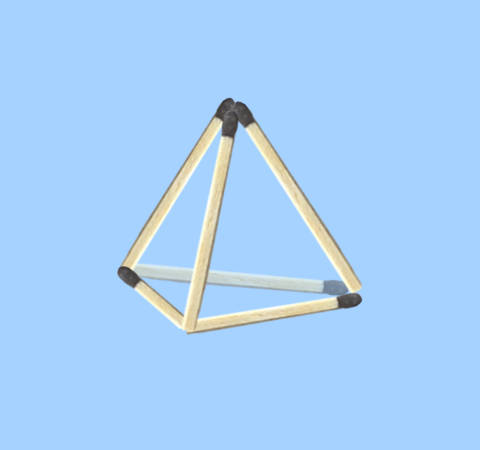 How to make 4 triangles with 6 sticks matchstick puzzle - 4 triangles with 6 sticks