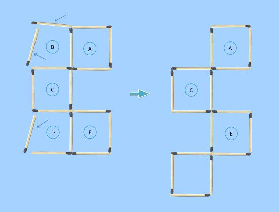 5 square to 4 square in 3 moves matchstick puzzle second solution