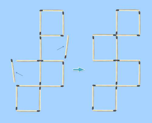 5 square to 4 square matchstick puzzle first solution