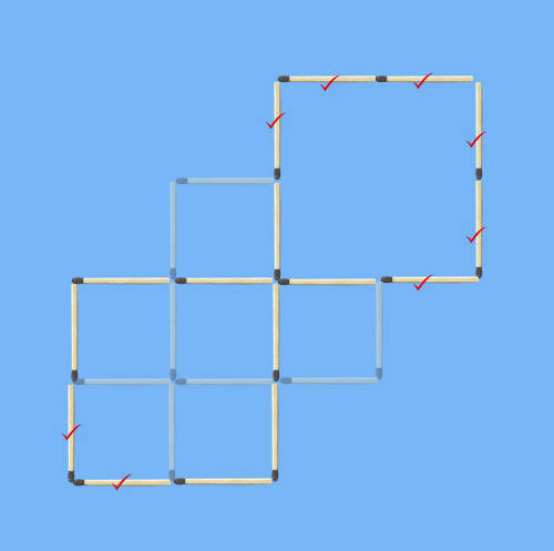 5 squares to 2 squares in 8 stick moves second analytical solution