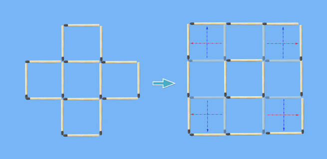 5 squares to 2 squares in 8 stick moves puzzle solved intuitively