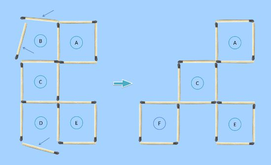 5 squares to 4 squares in 3 moves matchstick puzzle first solution