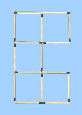 5 squares to 4 squares in 3 moves matchstick puzzle