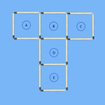 5 squares to 4 squares in 3 stick moves 3rd 5square matchstick puzzle solving