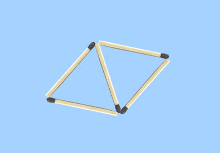 How to make 4 triangles with 6 sticks matchstick puzzle - 5 sticks and 2 triangles
