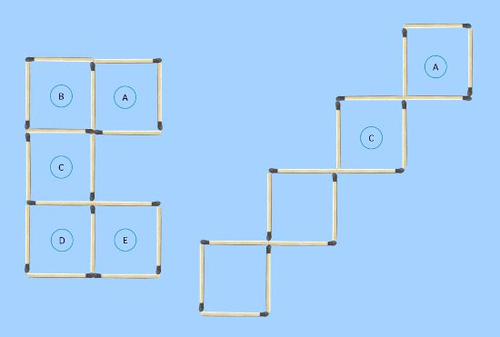 5 to 4 squares 3 in moves comparing with possible final solution first trial