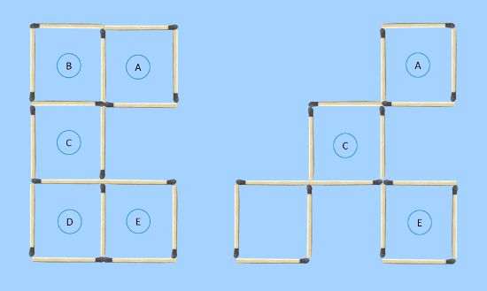 5 to 4 squares in 3 moves comparing with possible final solution second trial
