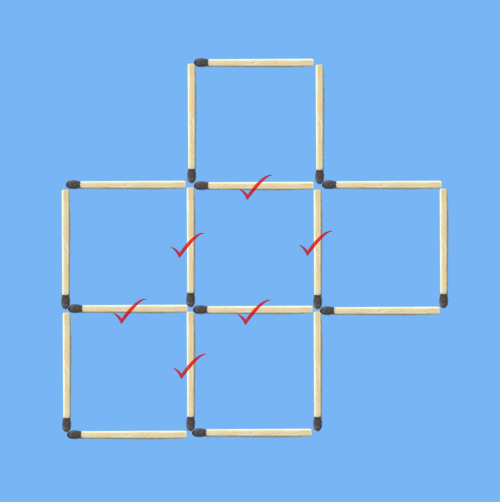 6 squares to 5 squares in 2 stick moves 6 common sticks