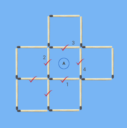 6 squares to 5 squares in 2 stick moves maximum common sticks square