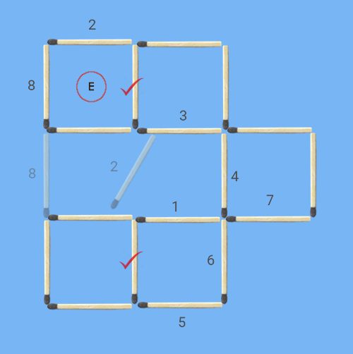 6 squares to 5 squares in 2 stick moves second solution