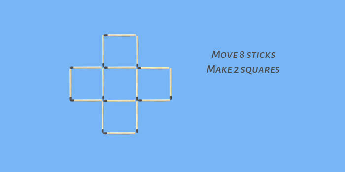Move 8 sticks make 2 squares stick puzzle