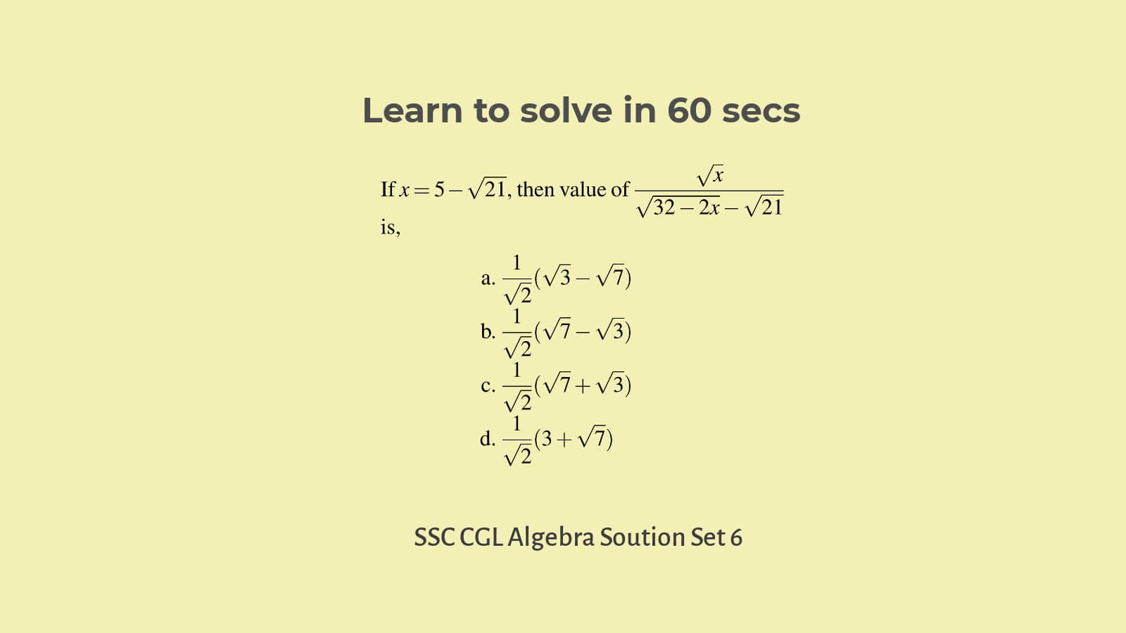 Algebra questions for competitive exams quick solutions SSC CGL Set 6