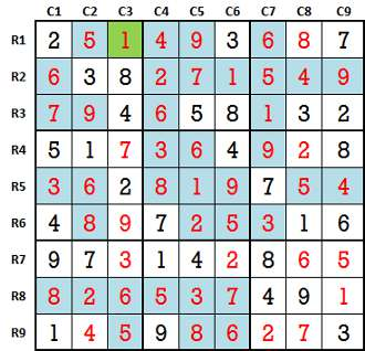 Sudoku second level game 7-3 solved