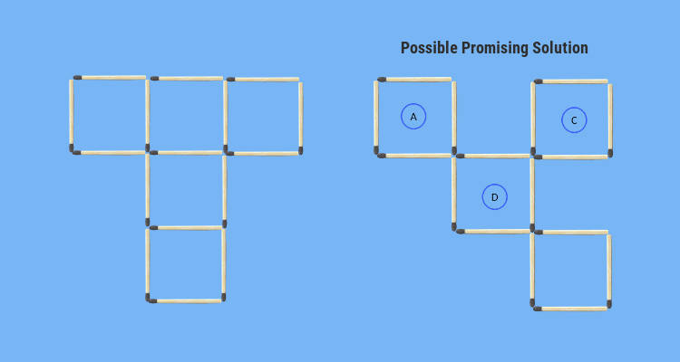 comparison between problem figure and possible solution 5square 3rd puzzle
