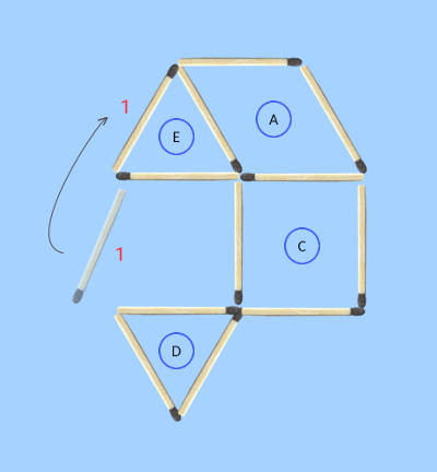 move 1 stick make 4 regular shapes matchstick puzzle solution 1