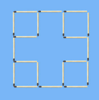 move 2 sticks to make 7 squares puzzle figure
