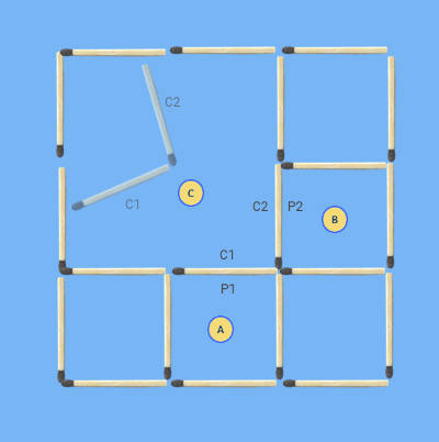 move 2 sticks to make 7 squares puzzle final solution