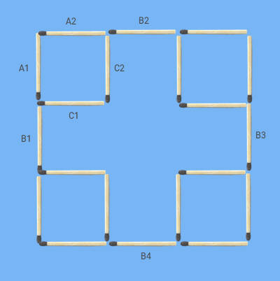 move 2 sticks to make 7 squares puzzle labelled figure