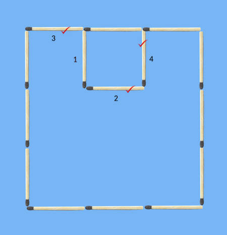 move 3 sticks to make 2 squares 2 matchstick puzzle solution