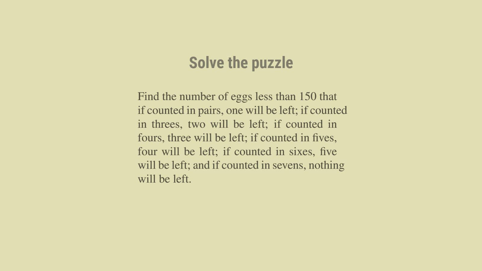 Euclid's division lemma and puzzle solutions