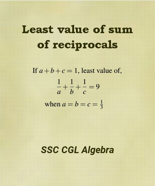principle of least value of sum of reciprocals