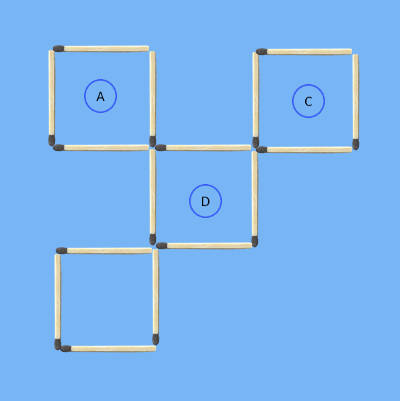 second solution to 5 squares to 4 squares in 3 stick moves 3rd puzzle