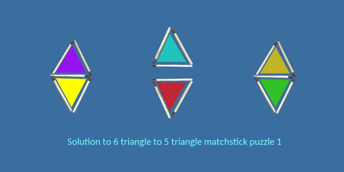 solution of 6 triangle to 5 triangle matchstick puzzle1