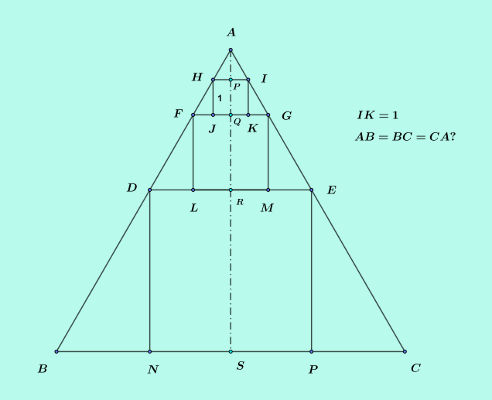 solve three squares in a triangle puzzle figure bisected