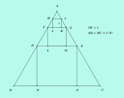solve three squares in a triangle puzzle labelled