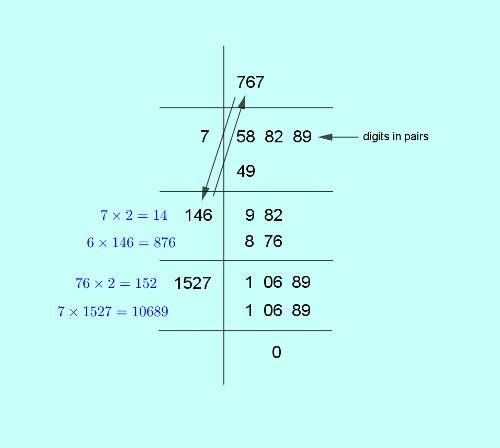 square root of 588289