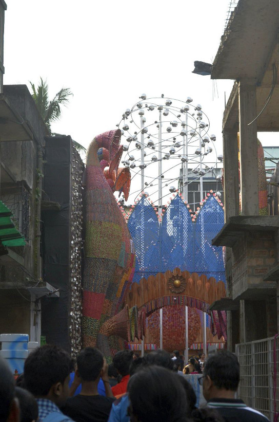 Nearly reached the first Puja Pandal