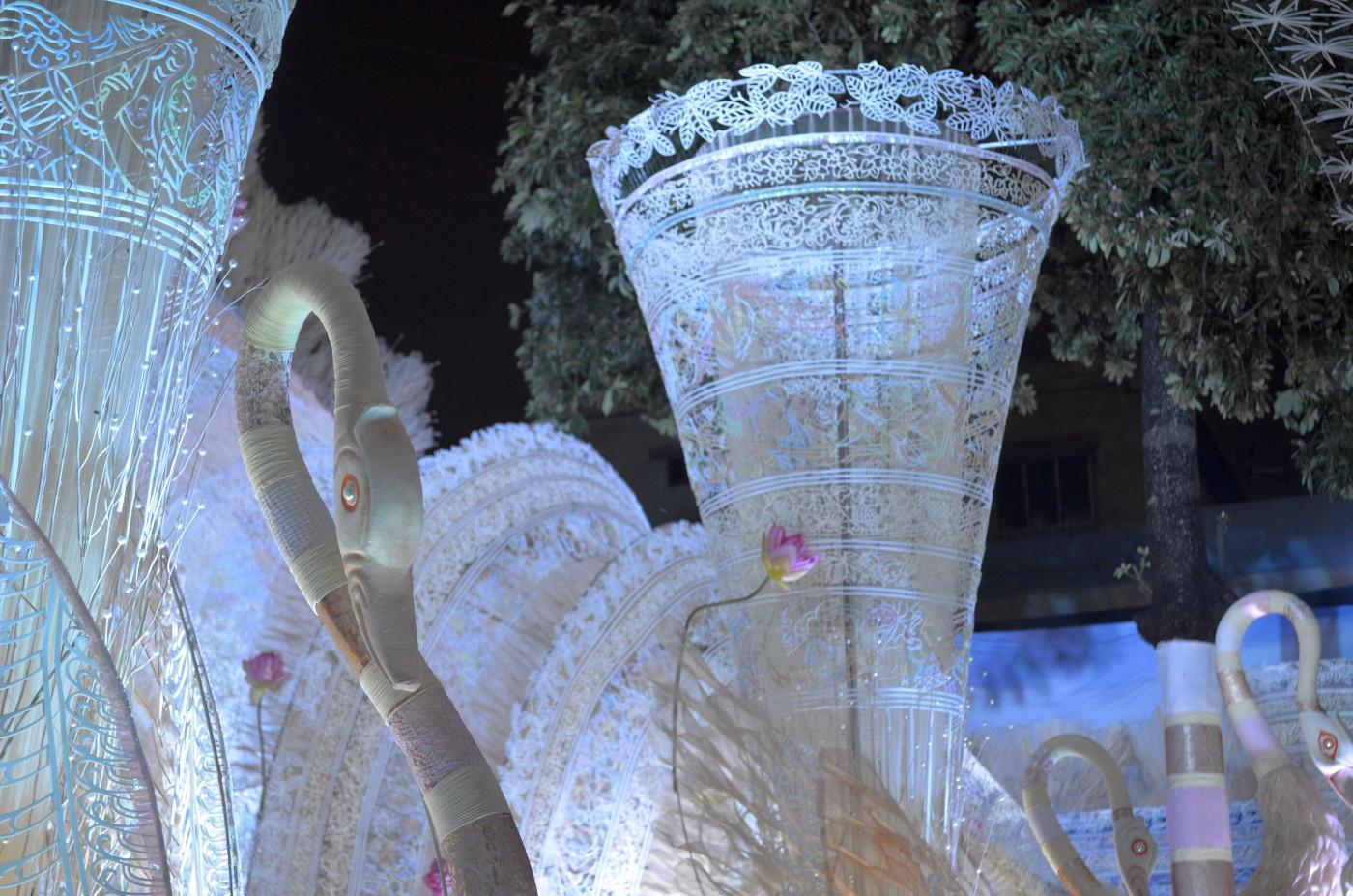 Rows of blue tinged white swans, Kolkata Durga Puja 2015