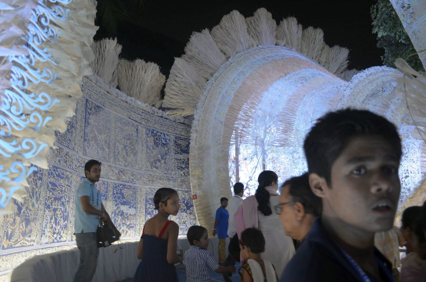 Blue light glowing from within, Kolkata Durga Puja 2015