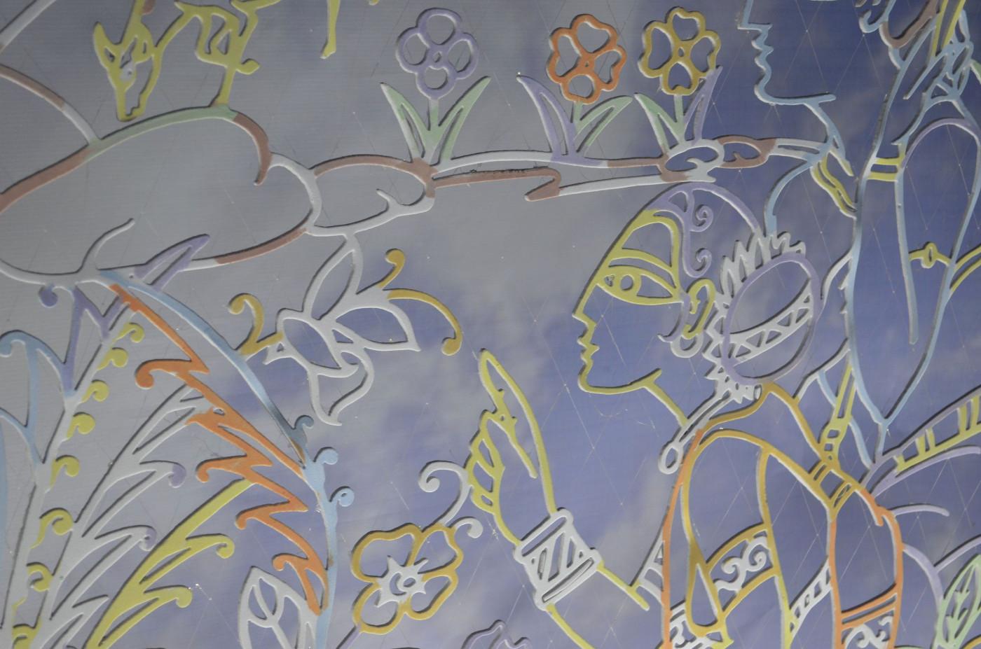 Delicately colored matching wall art, Kolkata Durga Puja 2015
