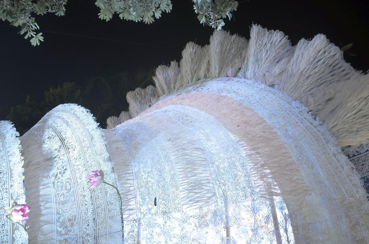 Giant white cone under chhatim tree, Kolkata Durga Puja 2015